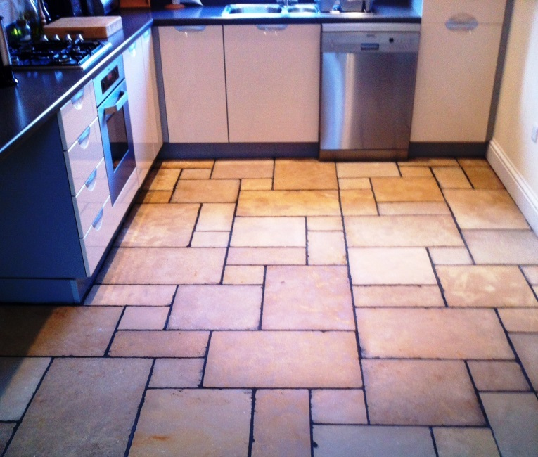 Honed Limestone Tiled Floor in Bingham After Cleaning