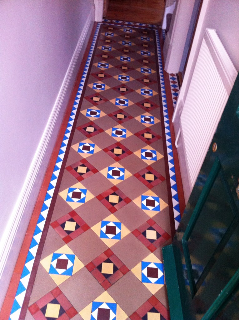 Victorian Geometric Tiled Hallway Floor Mapperley After Cleaning