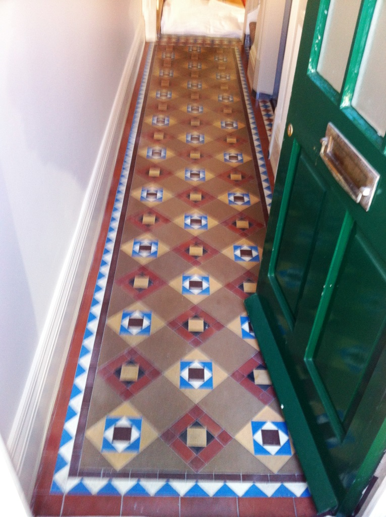 Victorian Geometric Tiled Hallway Floor Mapperley Before Cleaning