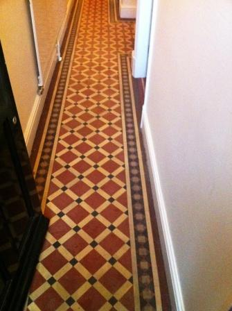 Victorian Hallway floor tiles prior to Cleaning