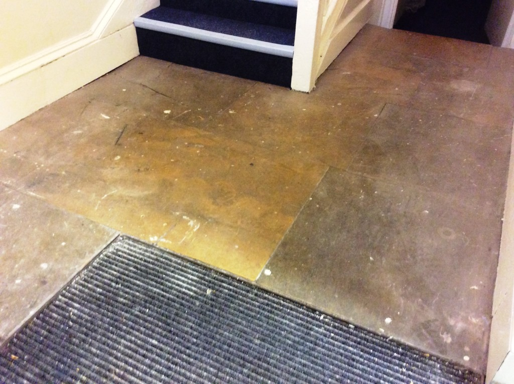 York Stone Flagstone Hallway Floor Before Cleaning in Newark
