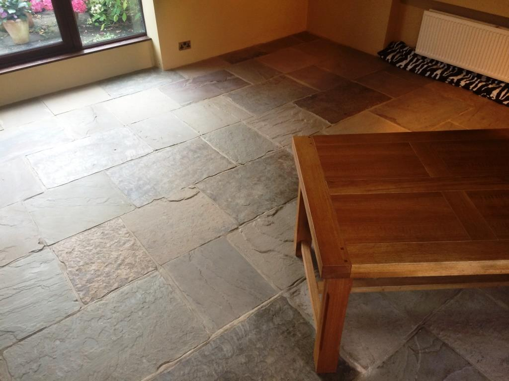 Sandstone Flagstone Floor Before Cleaning Newark