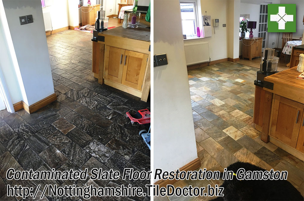 Contaminated Slate Floor Before and After Restoration Gamston
