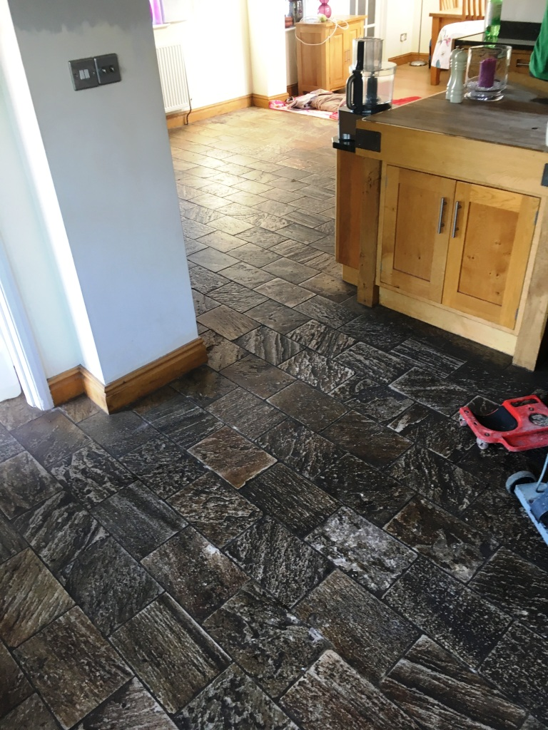 Amazing transformation of a slate kitchen floor stone cleaning and slate floor gamston nottingham before cleaning dailygadgetfo Gallery