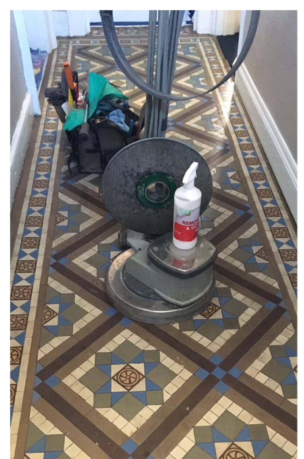 Edwardian Geometric Tiled Hallway Floor Newark Before Cleaning