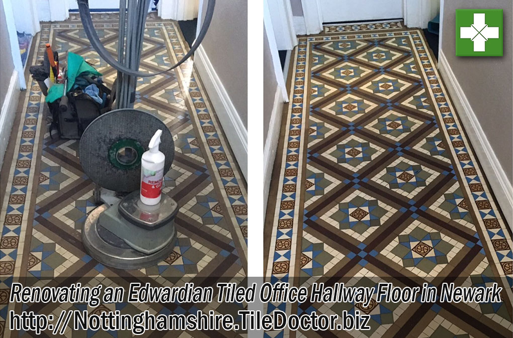 Edwardian Tiled Hallway Floor Before and After Renovation in Newark