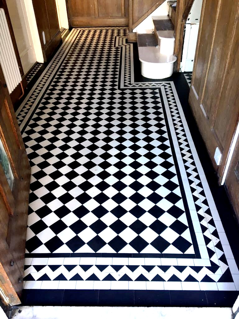 Edwardian Black and White Geometric Hall Floor After Restorative Clean and Seal