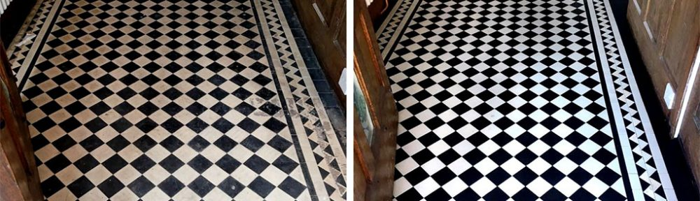 Geometric Edwardian Tiled Hallway Before and After Renovation West Bridgford