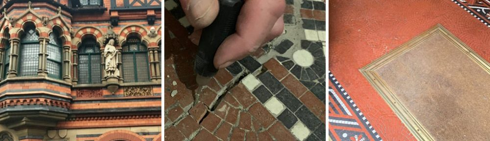 Damaged Edwardian Tesserae Floor Before After Restoration Nottingham City Centre