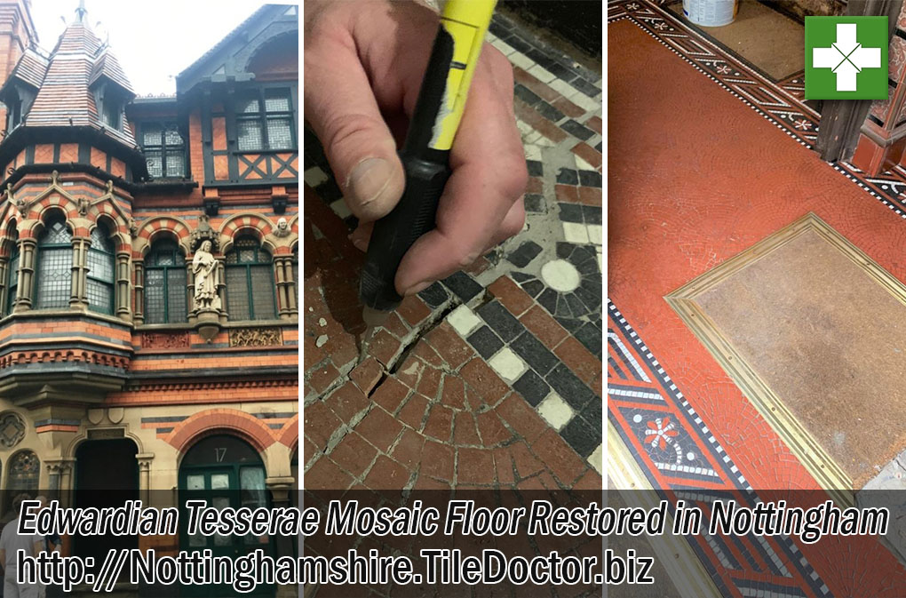 Damaged Edwardian Tesserae Floor Before After Restoration Nottingham City Centre