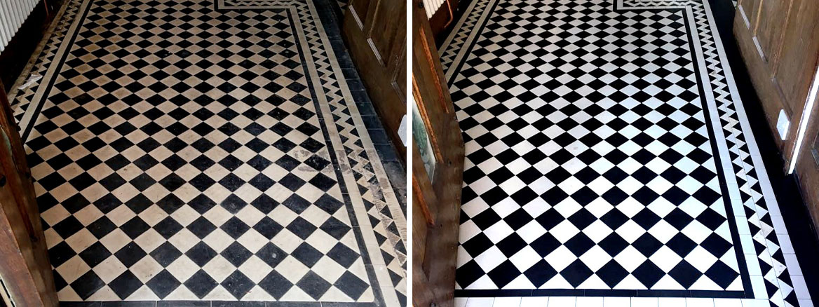 Edwardian Black and White Geometric Hall Floor Before and After Restorative Clean and Seal