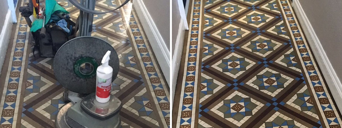 Edwardian Geometric Tiled Hallway Floor Newark Before and After Cleaning