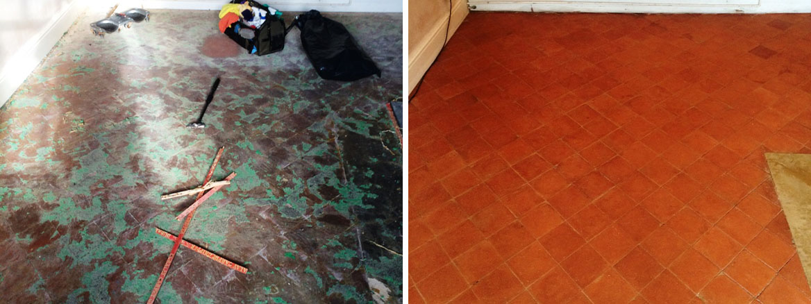 Quarry Tiled Floor Before and After Restoration Radcliffe on Trent