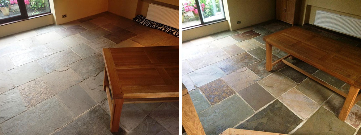 Dull and Tired Sandstone Flagstone Tiled Floor Refreshed in Newark