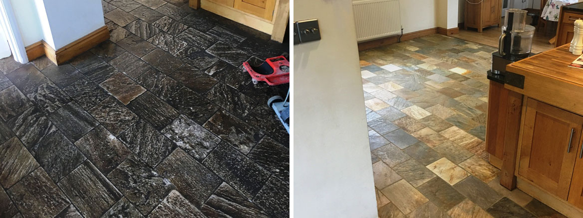 Slate Tiled Floor Contaminated with Topical Coating Restored in Gamston