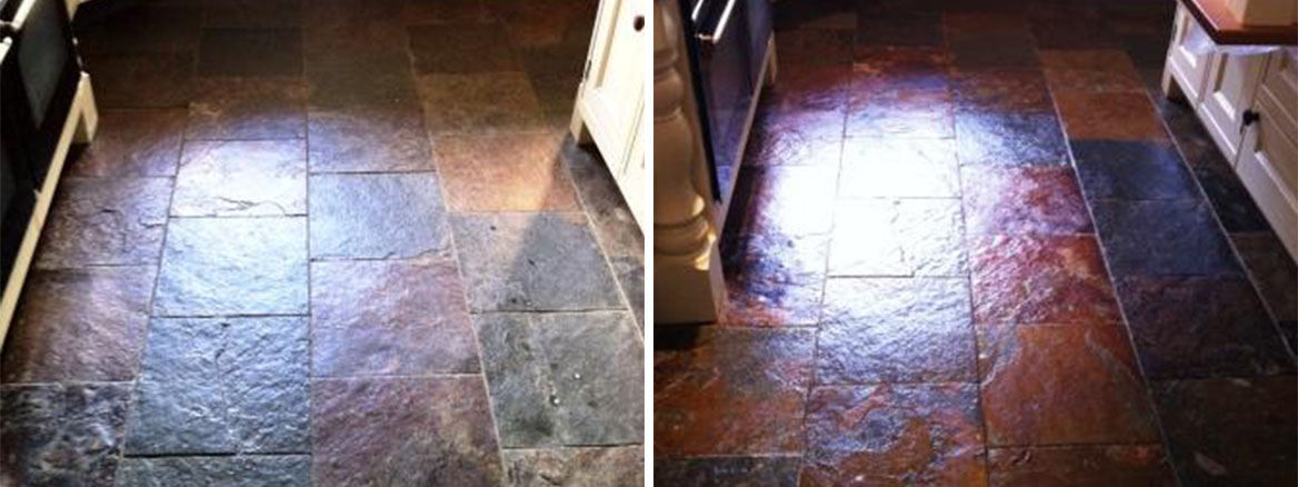 Slate Floor Refinished with Tile Doctor Seal and Go