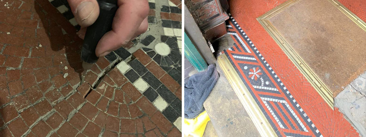 Tessera Mosaic Floor Before and After Restoration Lace Market Nottingham City