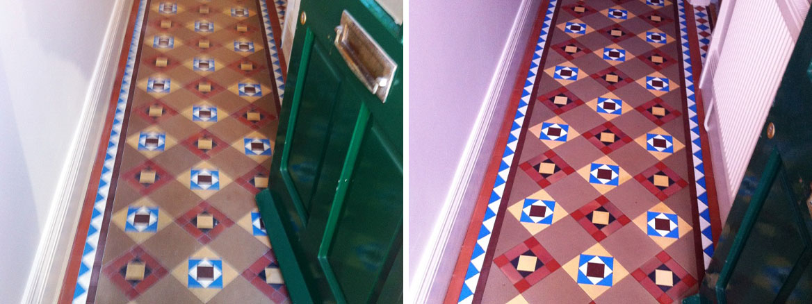 Victorian Geometric Tiled Hallway Floor Mapperley Before and After Cleaning